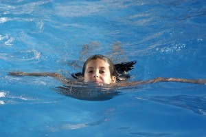 girl with head above water